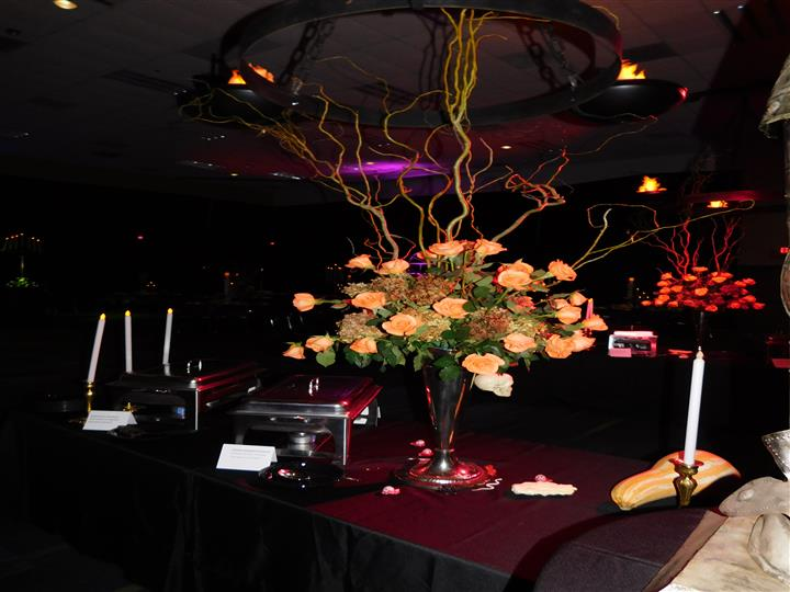 floral centerpiece on a catering table