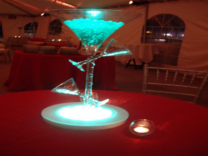 martini glass centerpiece with glass beads in them