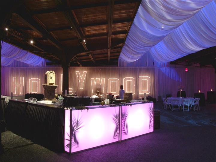 hollywood theme bar with catering items