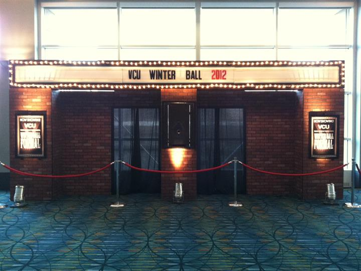 Winter ball enterance with velvet ropes