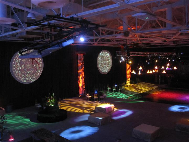 inside dirt bike event with colorful lights