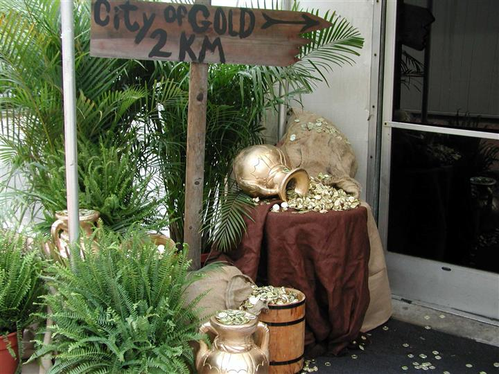 treasure map theme with gold coins