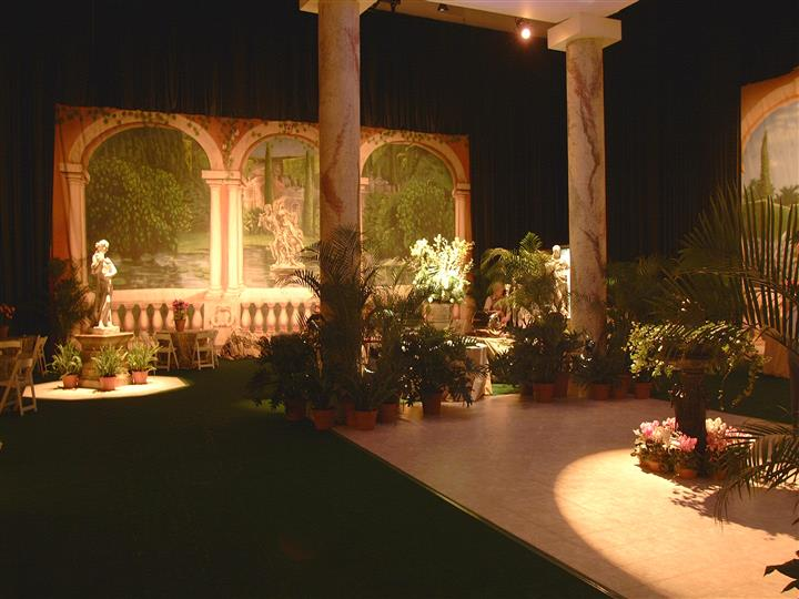 inside of a venue with ancient greek theme