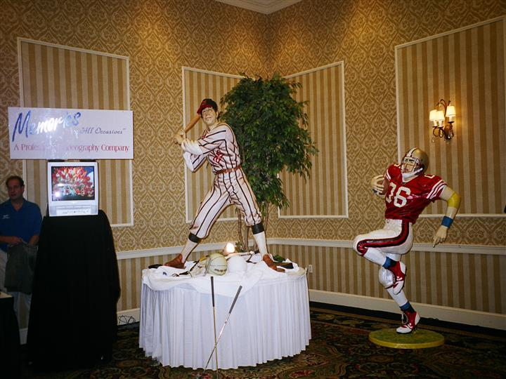 lifesized football and baseball figurine