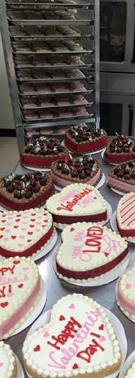 Several heart-shaped valentine cakes