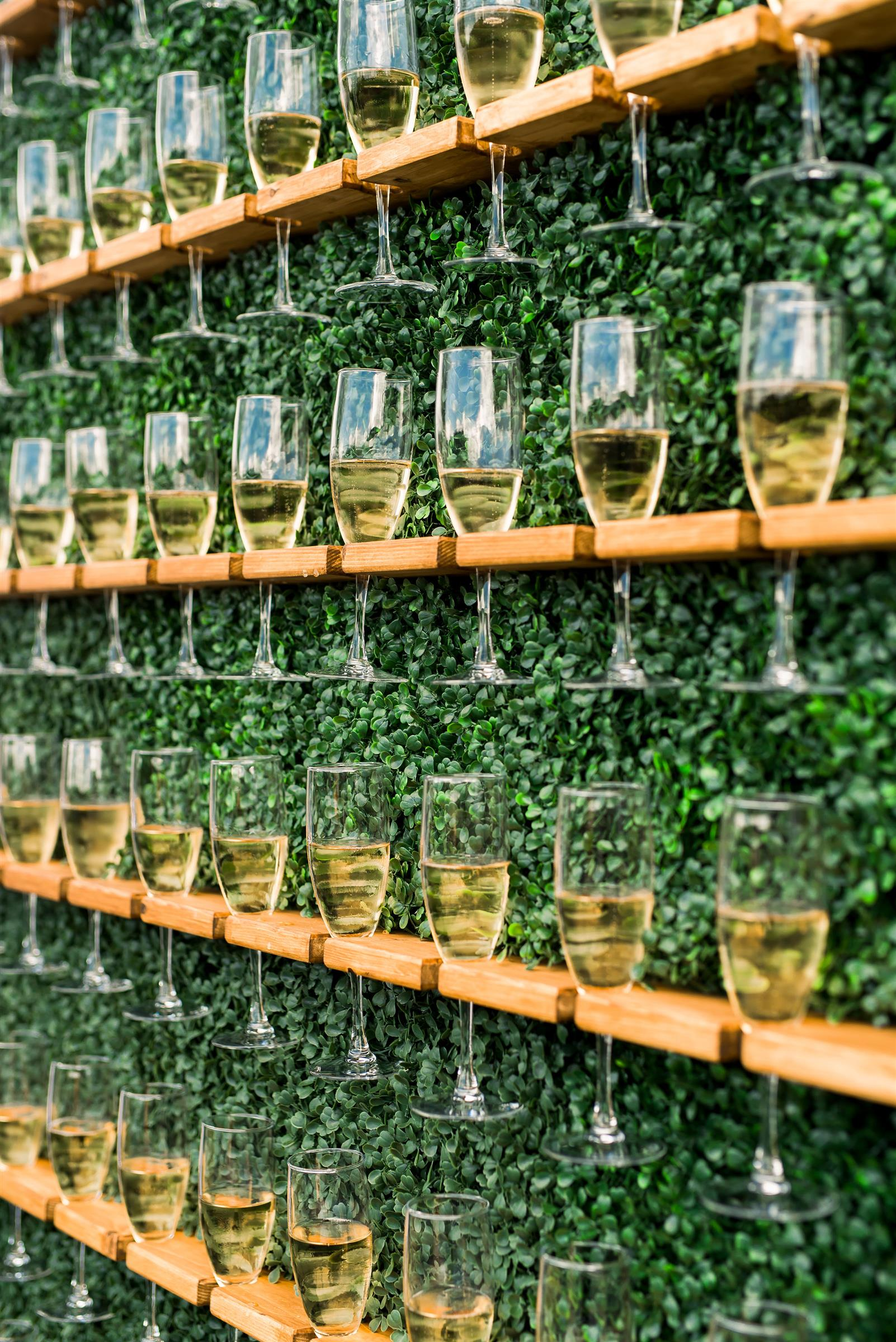 champagne flutes on display wall