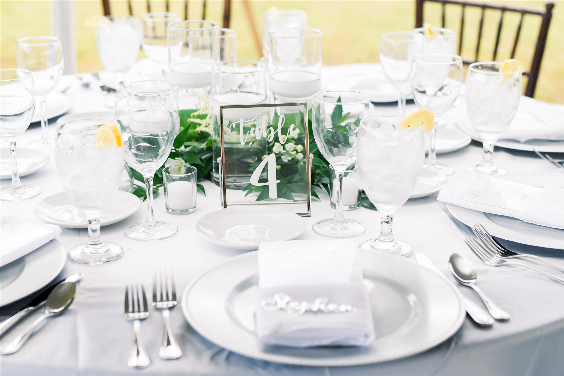 place settings on table for event