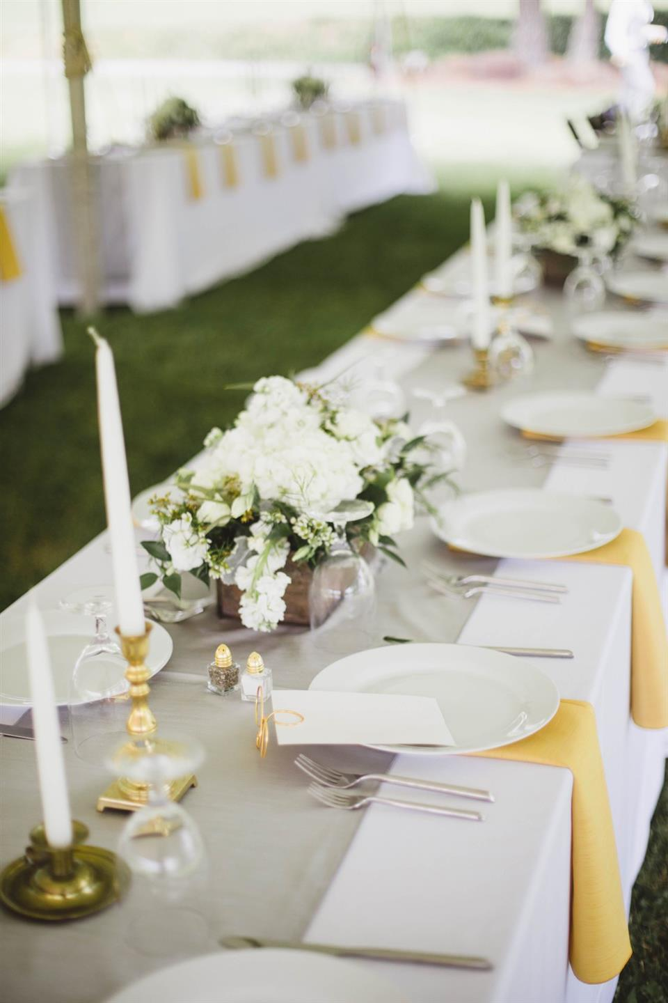table place settings with flowers