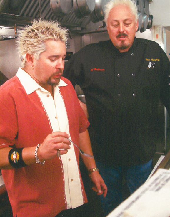 guy fieri with owner and chef brett hoffmann