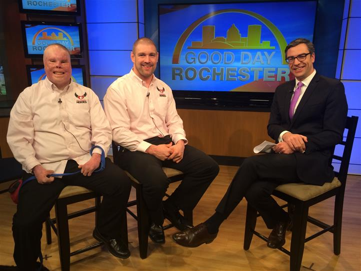 Rick yarosh and thomas murphy on set of good day rochester with host
