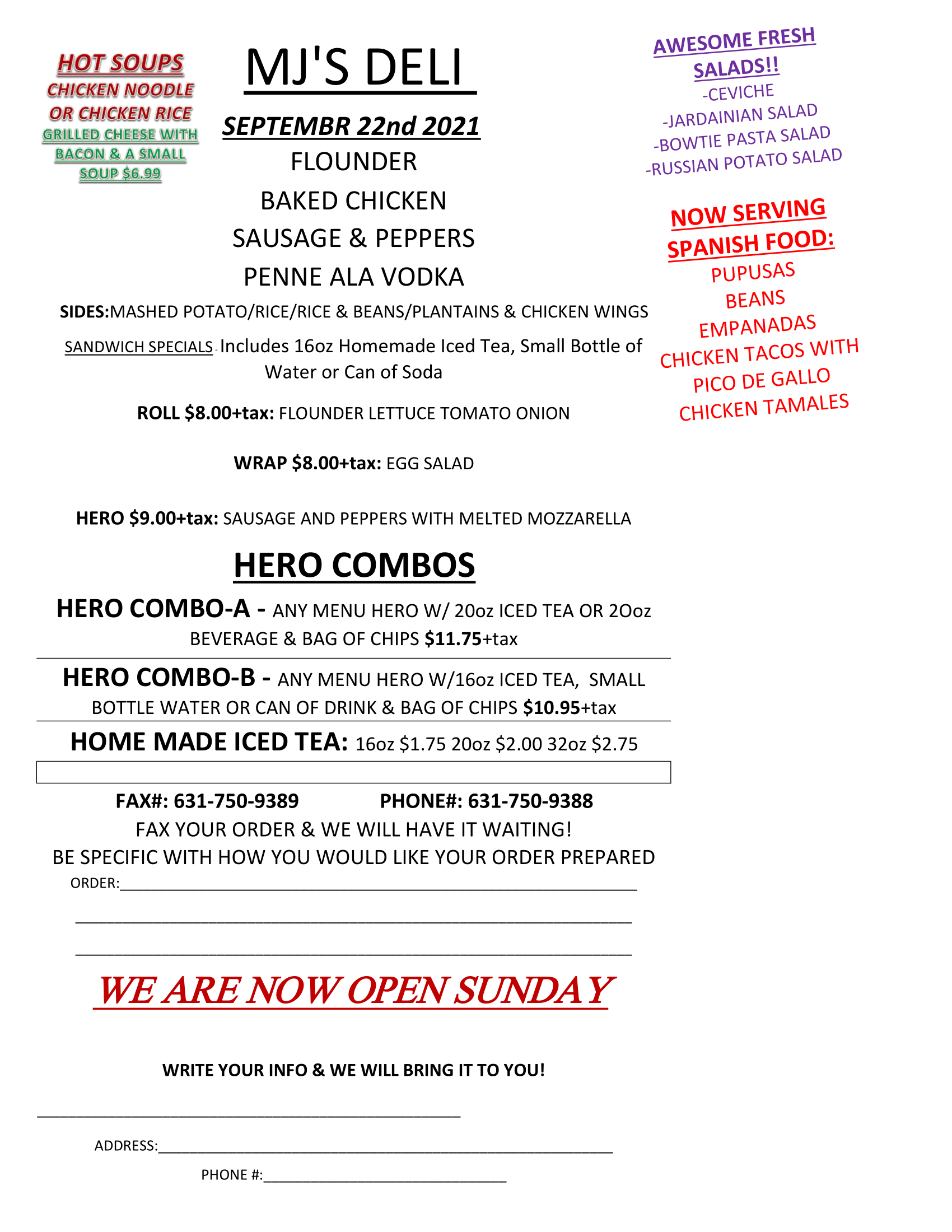 Flyer for MJs Deli daily specials September 22, 2021. Click image for pdf or button above for pdf