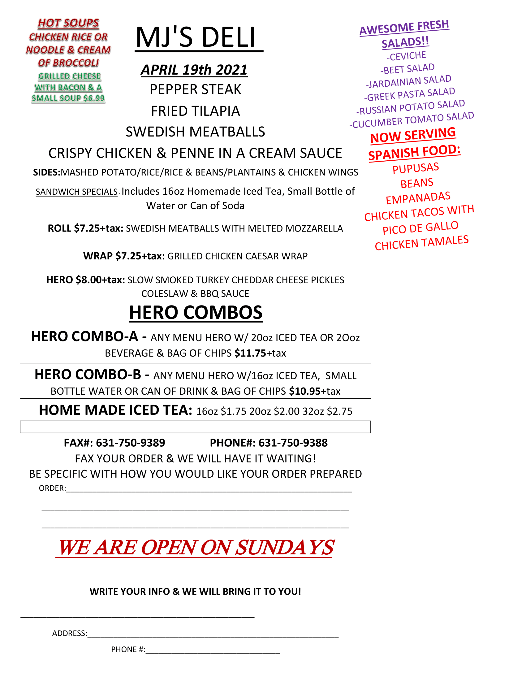 Menu specials for April 19th. Readable PDF available by clicking image or button.