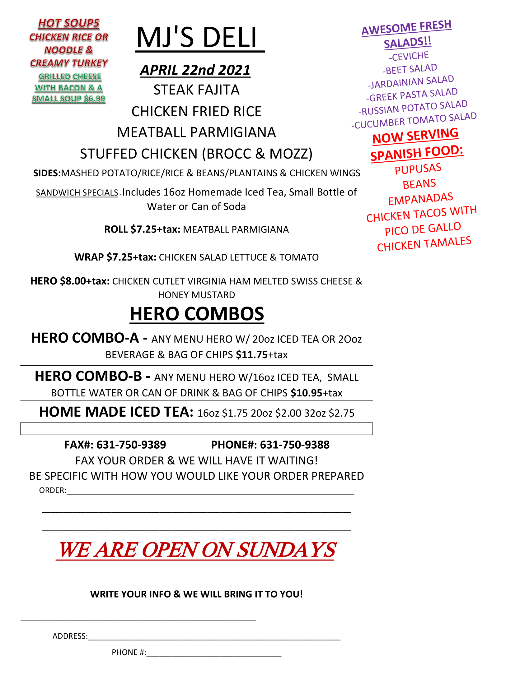 Menu specials for April 22nd. Readable PDF is available by clicking button or image.