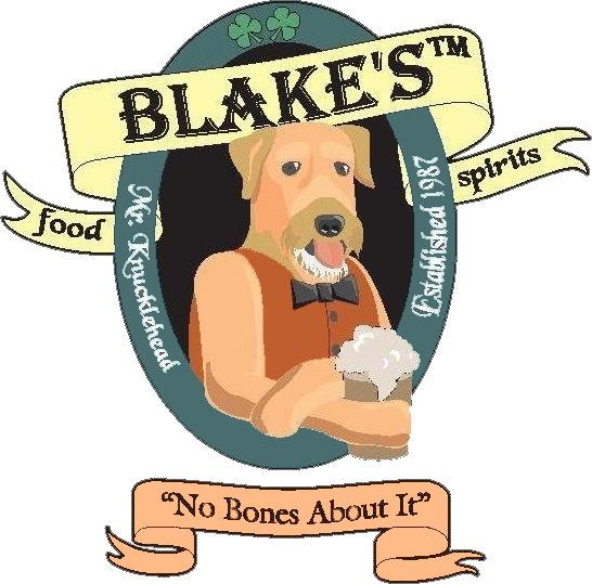 "blake's food spirits mr. knucklehead established 1987 ""no bones about it"""