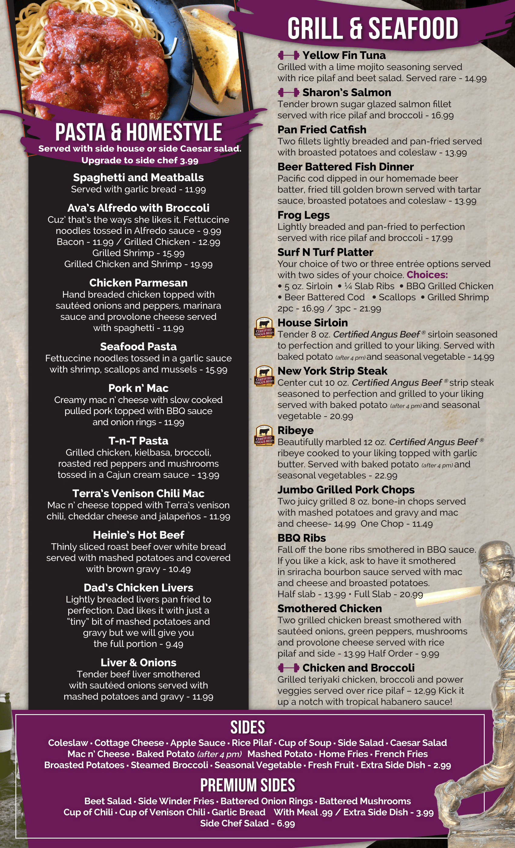 fifth page of menu