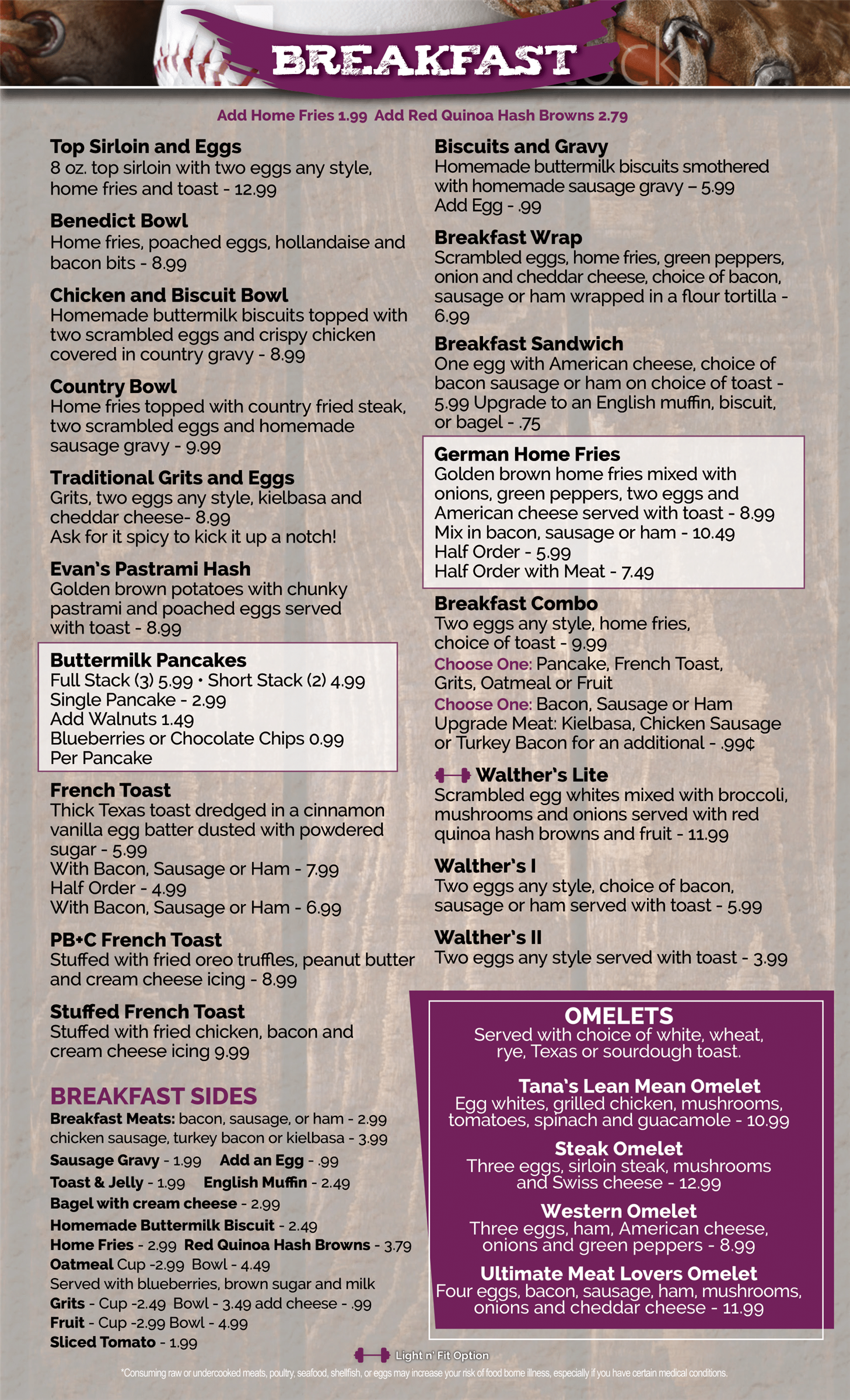 Breakfast menu page section for the Walthers Twin Tavern