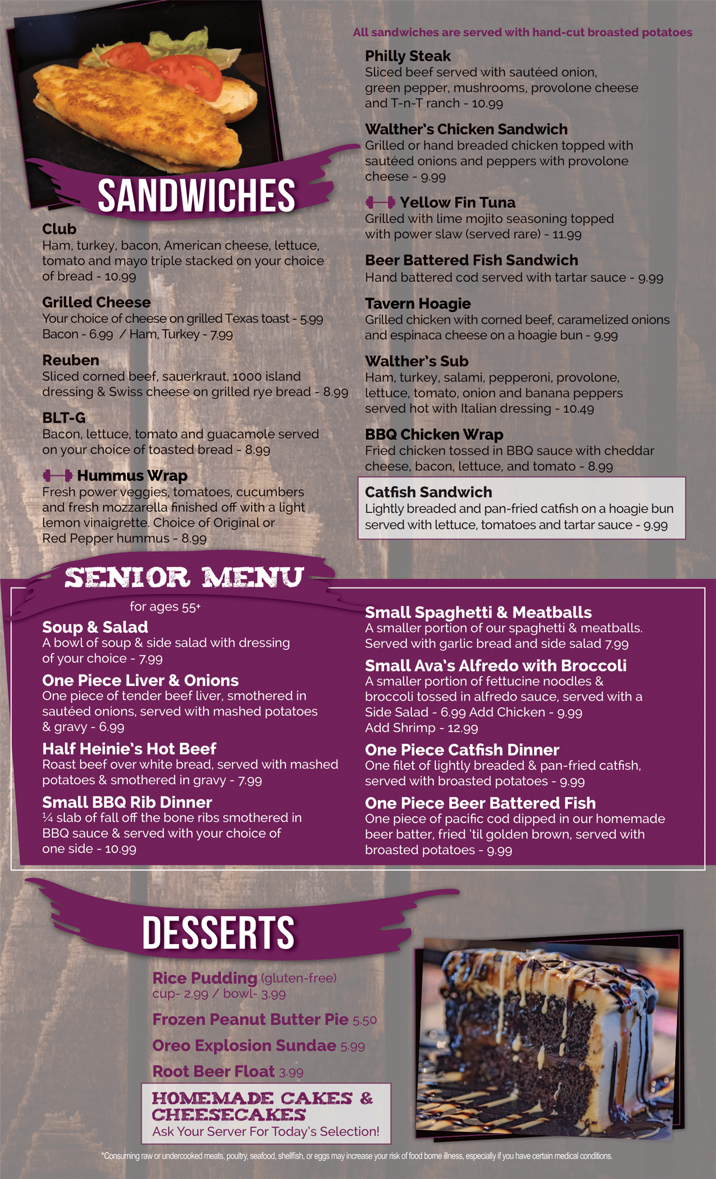 Sandwiches, Senior Menu and Desserts menu page For Walthers Twin Tavern