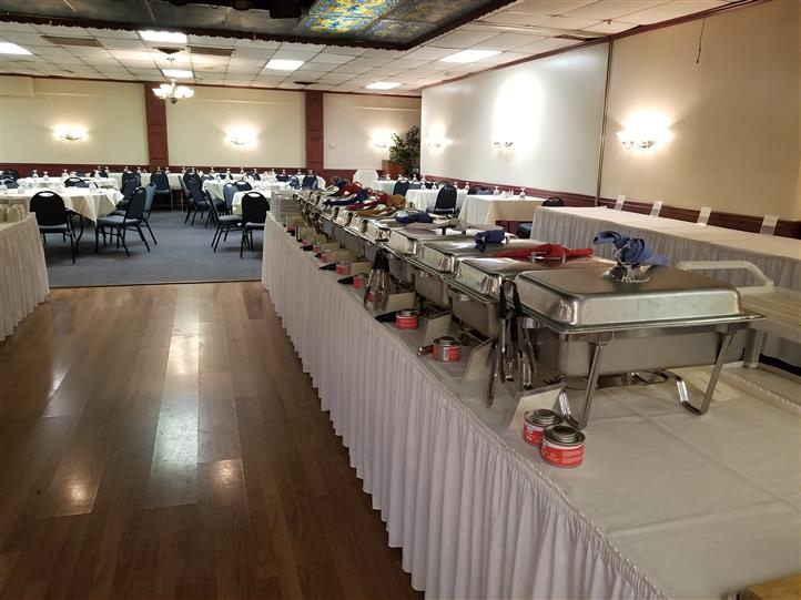 Catering tables with stoves