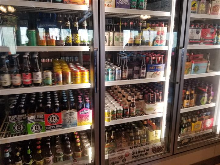 Fridge with alcoholic beverages