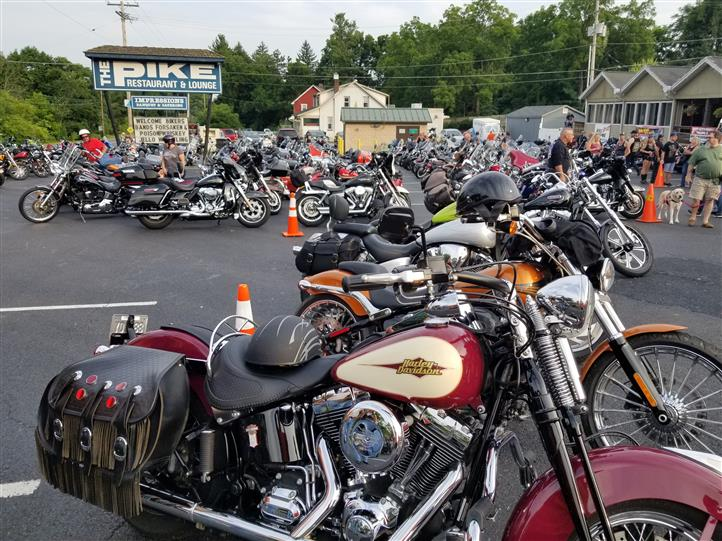 Motorcycles in a parking lot