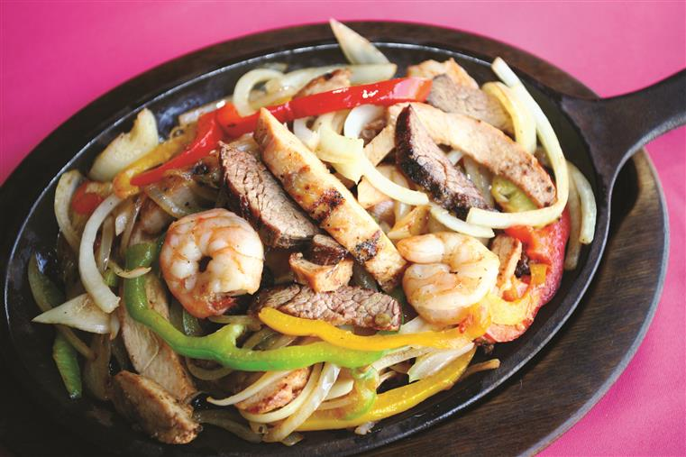 fajita with chicken, steak, shrimp