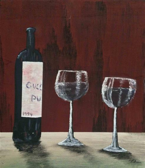 Painting of red wine and two glasses on counter