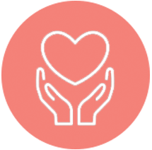 Cartoon graphic of hands holding heart
