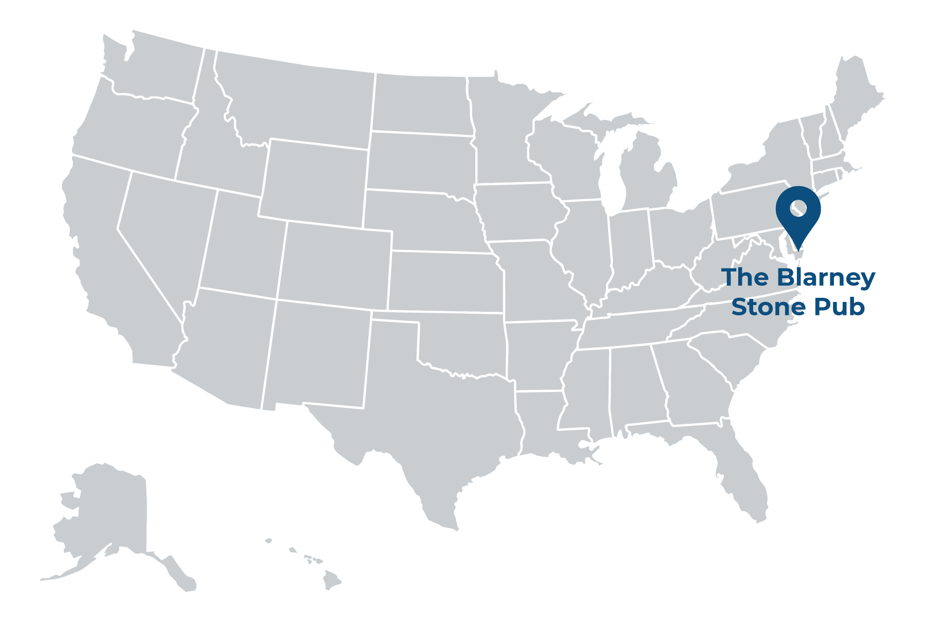 illustrated map of the united states with pin showing location of The Blarney Stone Pub