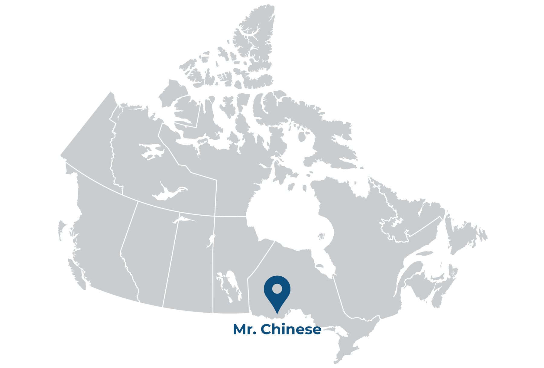 illustrated map of Canada with pin showing location of Mr Chinese Restaurant