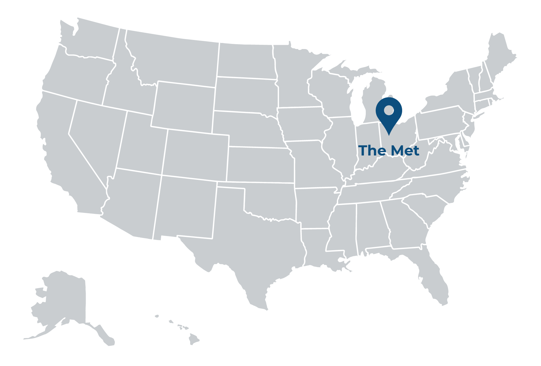 illustrated map of the united states with pin showing location of The Met