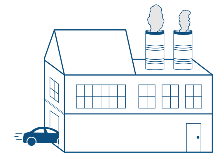 cartoon image of a factory