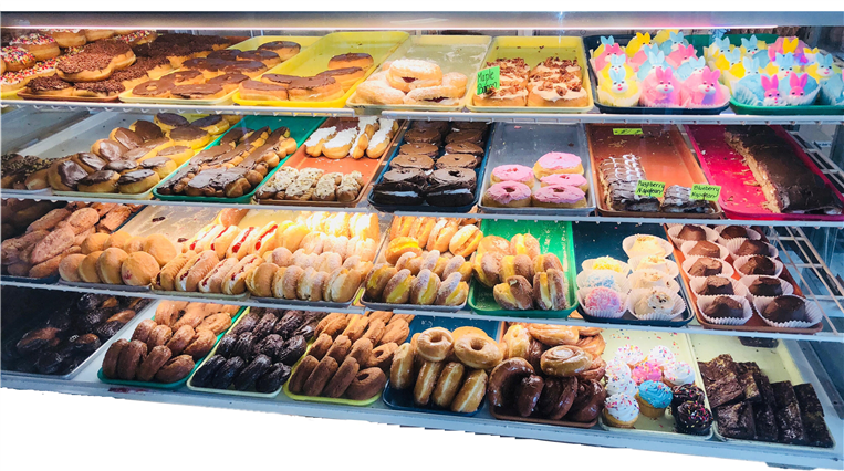 counter with various dessert items