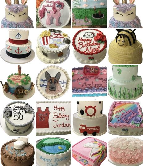 A collage of colorful birthday cakes in various shapes