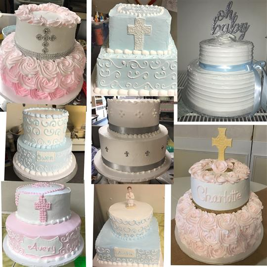 Two tiered christening cakes decorated with cross shapes