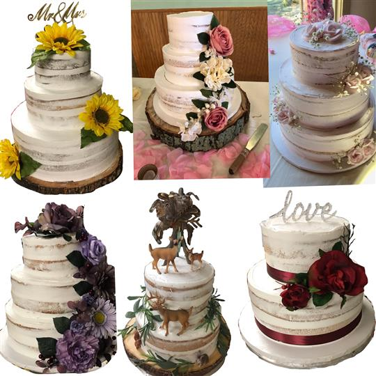 Three tiered white cakes with flower decorations on the side