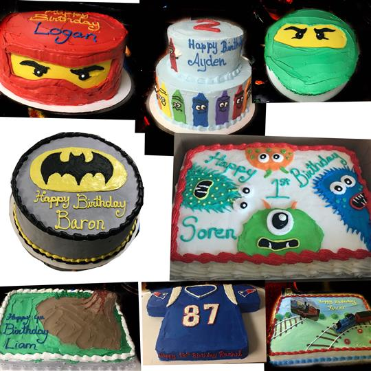 A collage of birthday cakes for boys shaped like super heroes, or video game characters