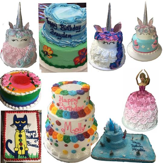 A collage of kid's cakes shaped like unicorns, or themed form TV and Toy characters