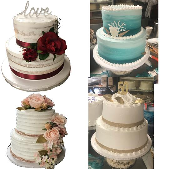 A collage of two tiered cakes for anniversaries