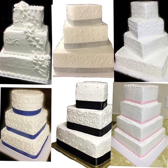 A collage of three-tiered square shaped white cakes with pops of color from decorative ribbons