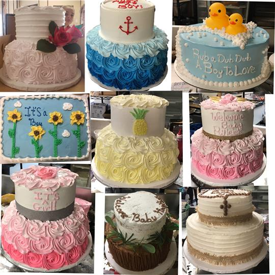 A collage of variously sized cakes for baby shower, and christenings with pink, light blue and yellow colors
