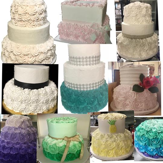 Colorful triple-layered cakes with color gradients and colorful rosettes as decorations