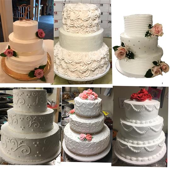 A collage of triple-layered white wedding cakes with detailed decorations and flower accents