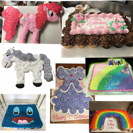 A collage of kids birthday cakes shaped like ponies, rainbows, dresses and smiley faces