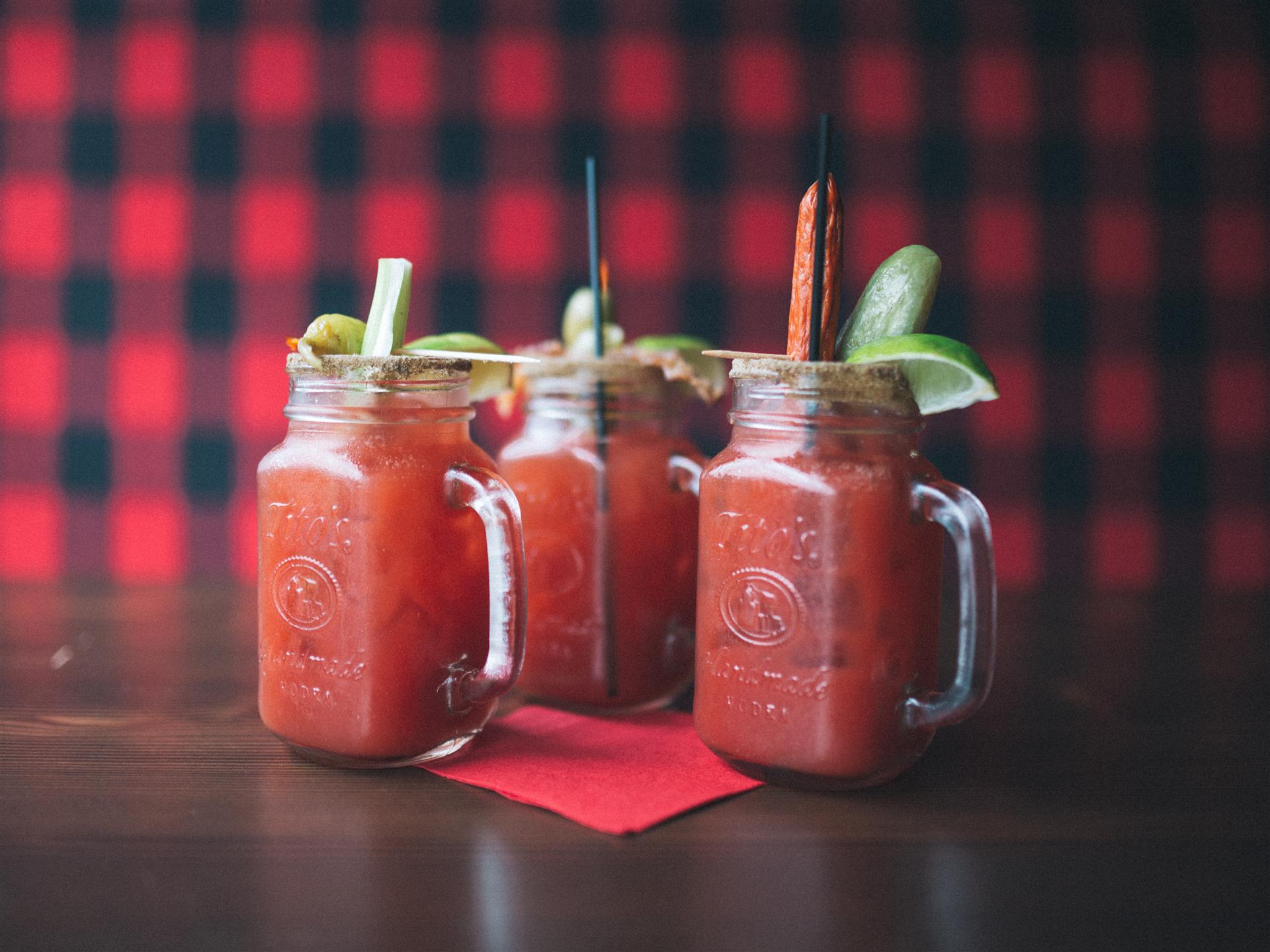 Bloody marys in mason jars