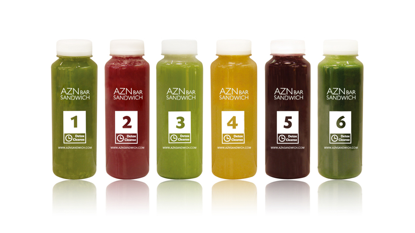 photo of AZN Bar sandwich juice bottles lined up