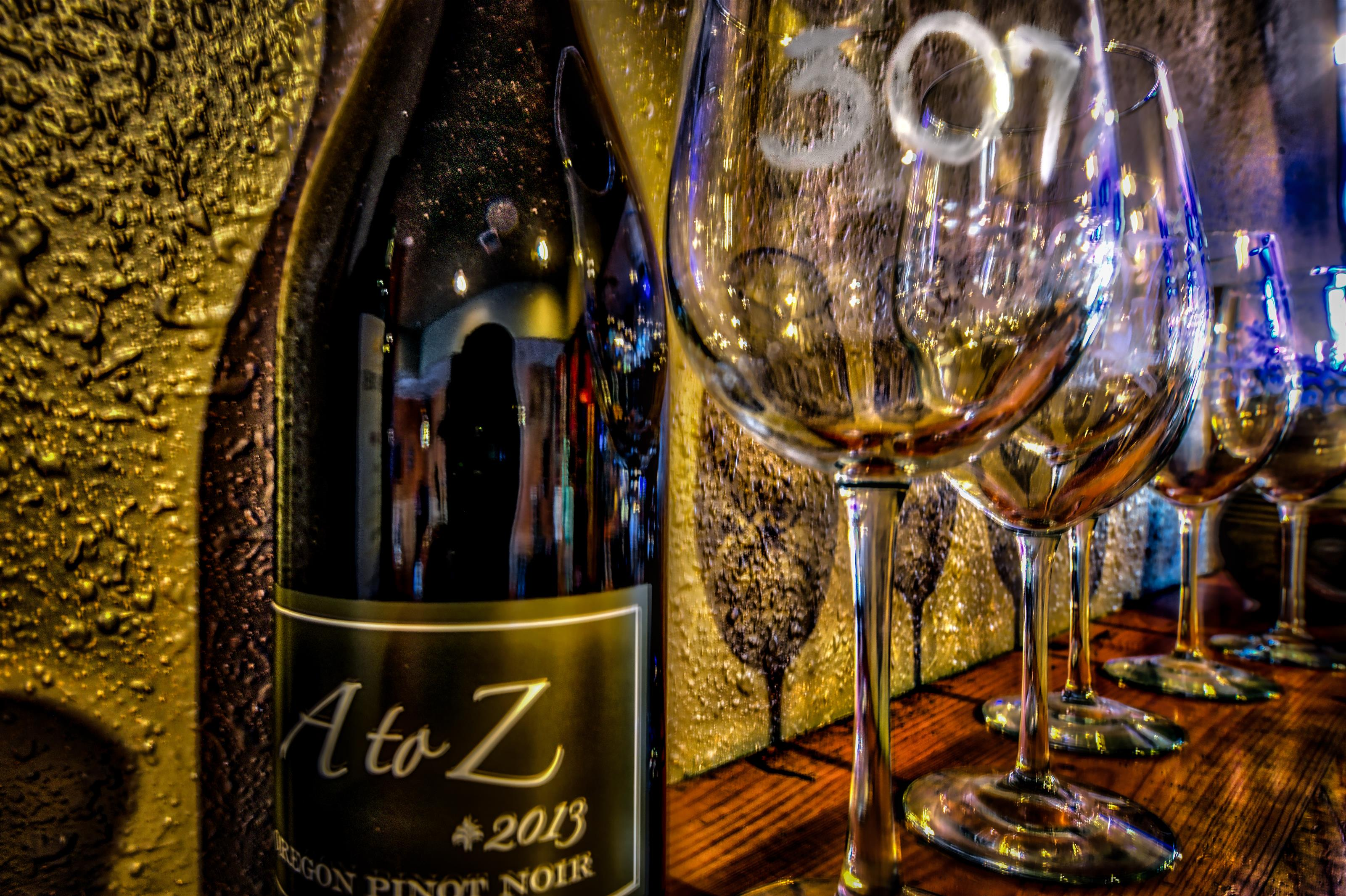 A to Z 2013 wine with 307 wine glass on wooden table