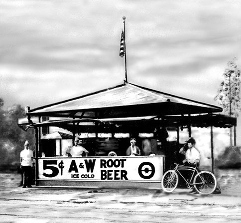 vintage photo of a stand selling root beer at 5 cents