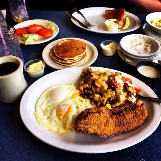 Several breakfast dishes