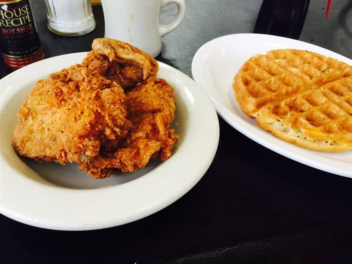 A fried dish and a dish of waffle