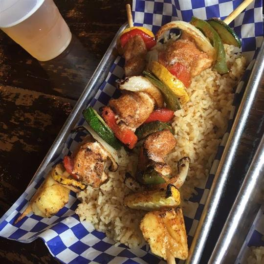 kabobs over rice